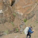 trekking down hill tsarap chu river
